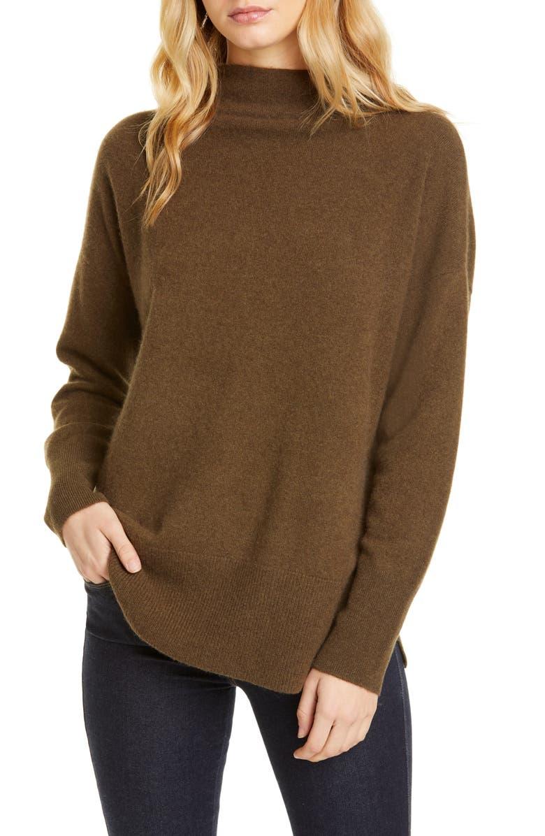 NORDSTROM SIGNATURE Funnel Neck Cashmere Sweater, Main, color, OLIVE DARK HEATHER