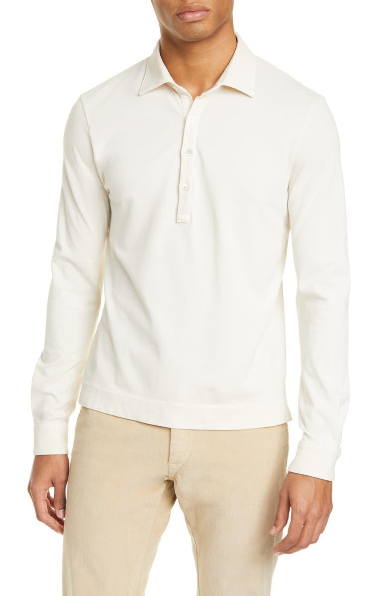 BOGLIOLI Trim Fit Stretch Cotton Long Sleeve Polo, Main, color, CREAM