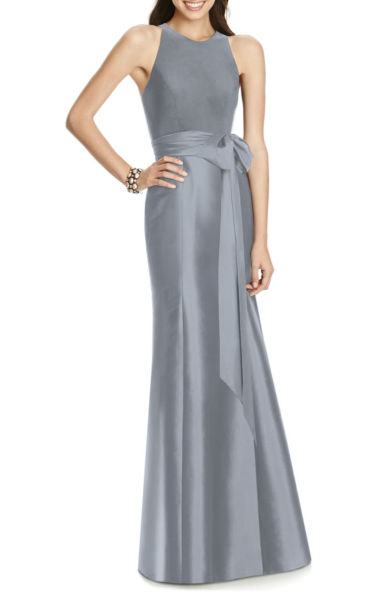ALFRED SUNG Jersey Bodice Mikado Trumpet Gown, Main, color, PLATINUM