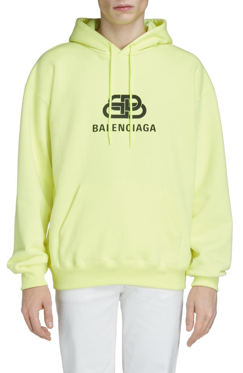 BALENCIAGA BB Logo Hooded Sweatshirt, Main, color, LIME