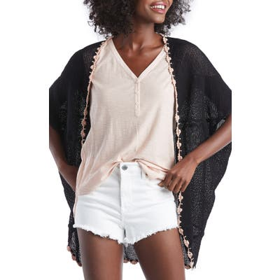 Sole Society Sheer Crochet Trim Cardigan, Size One Size - Black