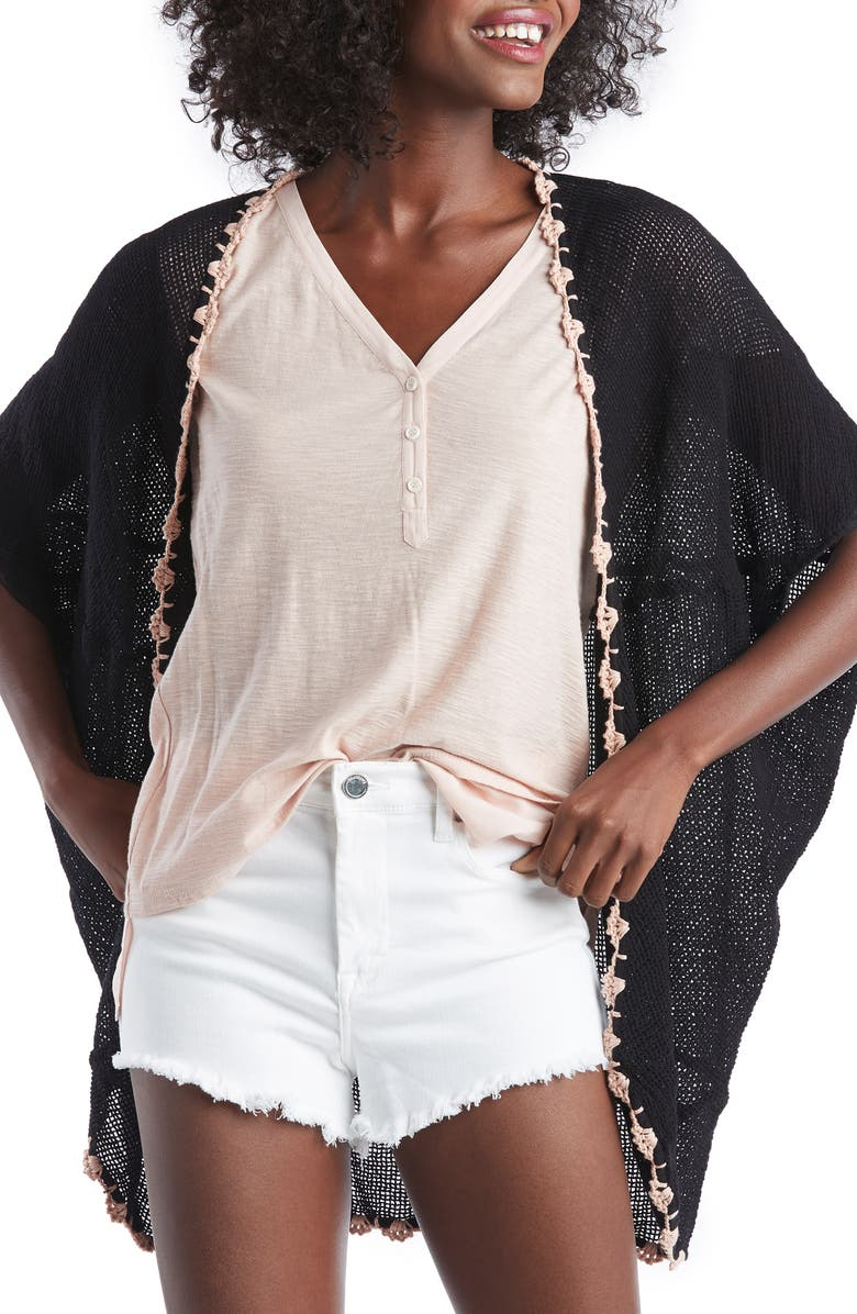 SOLE SOCIETY Sheer Crochet Trim Cardigan, Main, color, BLACK