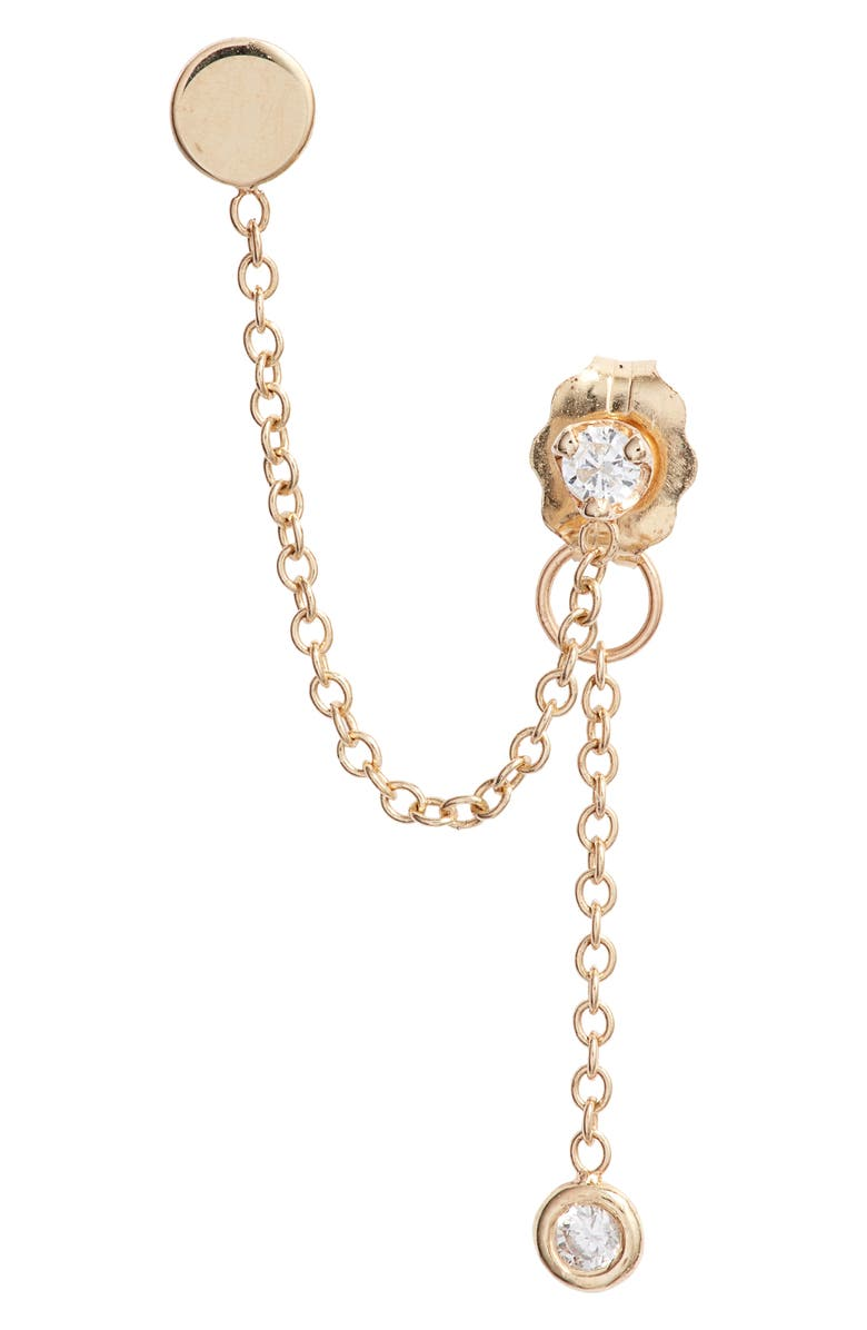 ZOË CHICCO Itty Bitty Single Diamond Earring Chain, Main, color, GOLD/ DIAMOND