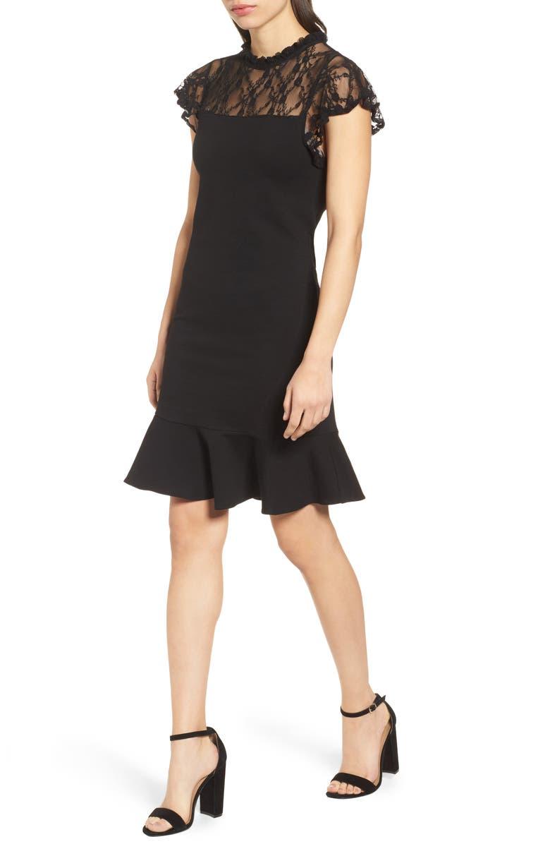 BOBEAU Lace Yoke Ruffled A-Line Dress, Main, color, 001