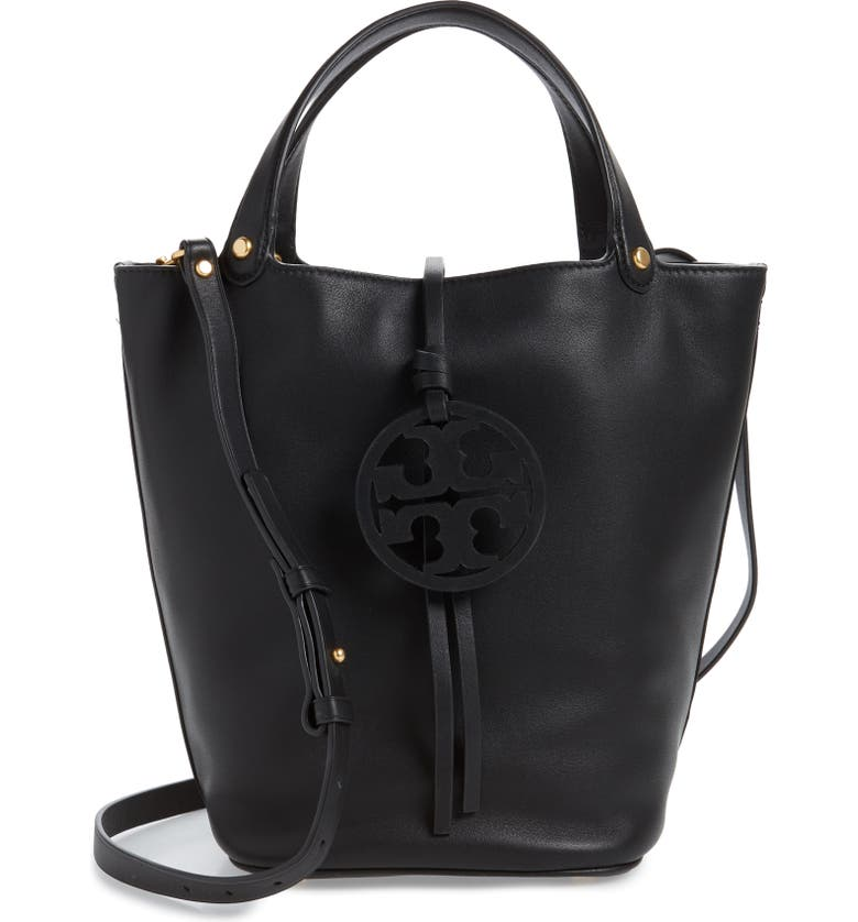 TORY BURCH Miller Leather Bucket Bag, Main, color, BLACK