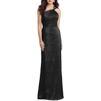 Dessy Collection Soho Metallic One-Shoulder Gown, Black