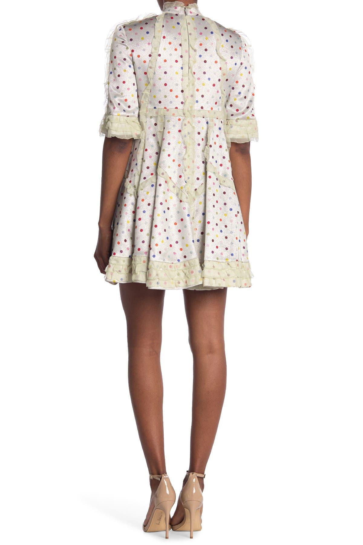 Image of Valentino Dot Print Ruffle Trim Dress