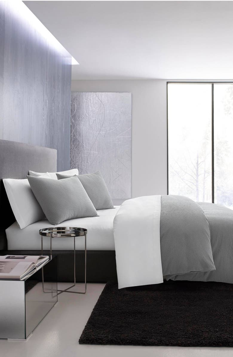 VERA WANG Waffle Piqué Duvet Cover & Sham Set, Main, color, PEWTER