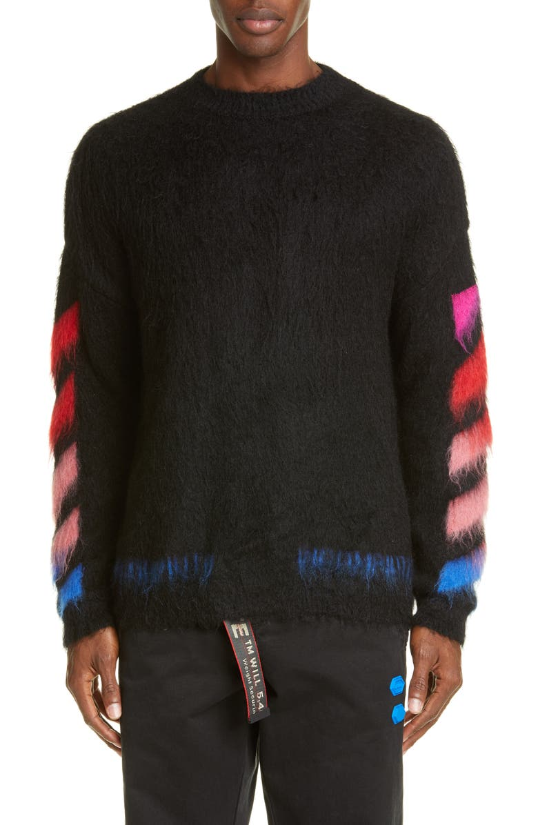OFF-WHITE Diagonal Slim Fit Mohair Blend Sweater, Main, color, BLACK MULTI