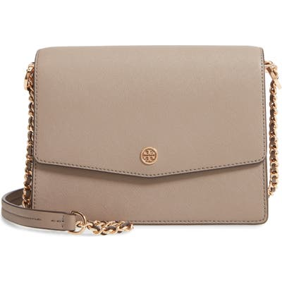 Tory Burch Robinson Convertible Coated Saffiano Leather Shoulder Bag - Grey