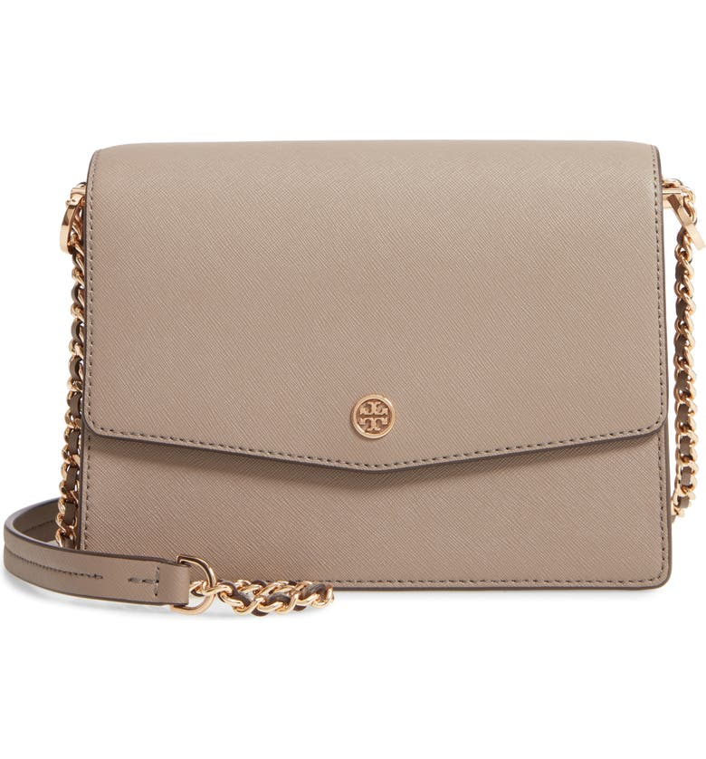 TORY BURCH Robinson Convertible Coated Saffiano Leather Shoulder Bag, Main, color, 020