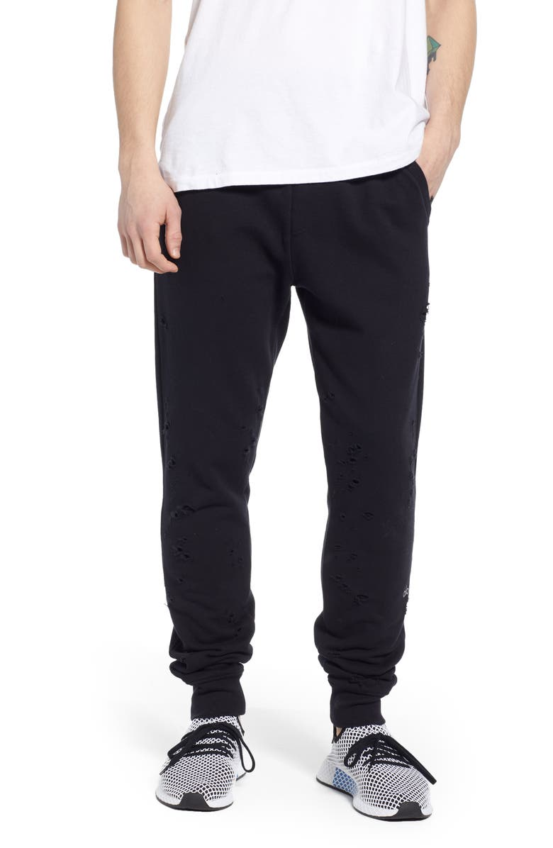 ALO Ripped Slim Fit Sweatpants, Main, color, BLACK