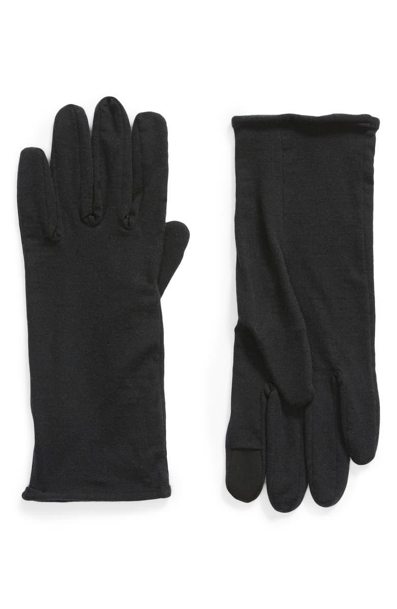 ICEBREAKER 260 Tech Touchscreen Compatible Merino Wool Glove Liners, Main, color, BLACK