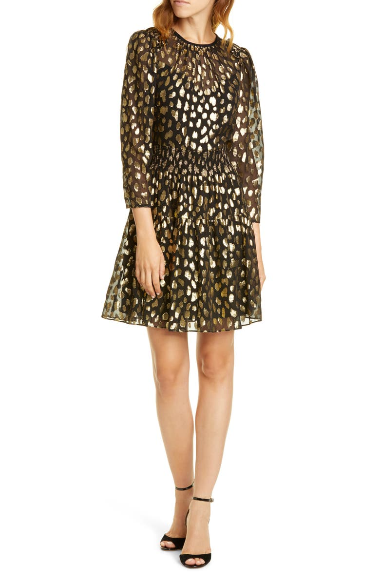 REBECCA TAYLOR Leopard Metallic Long Sleeve Dress, Main, color, BLACK COMBO