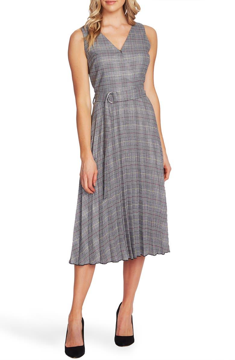 VINCE CAMUTO Glen Plaid Fit & Flare Dress, Main, color, LIME CHROME