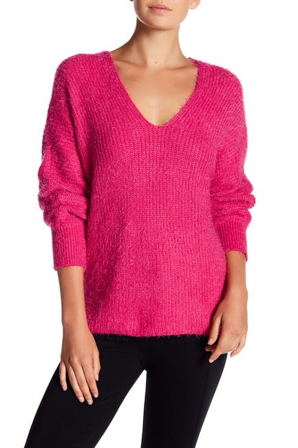 Image of Woven Heart Fuzzy V-Neck Crossback Sweater