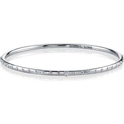 Sheryl Lowe Diamond Bezel & Beaded Silver Bangle Bracelet