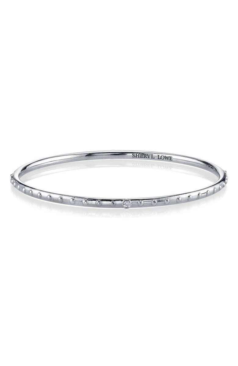 SHERYL LOWE Diamond Bezel & Beaded Silver Bangle Bracelet, Main, color, STERLING SILVER