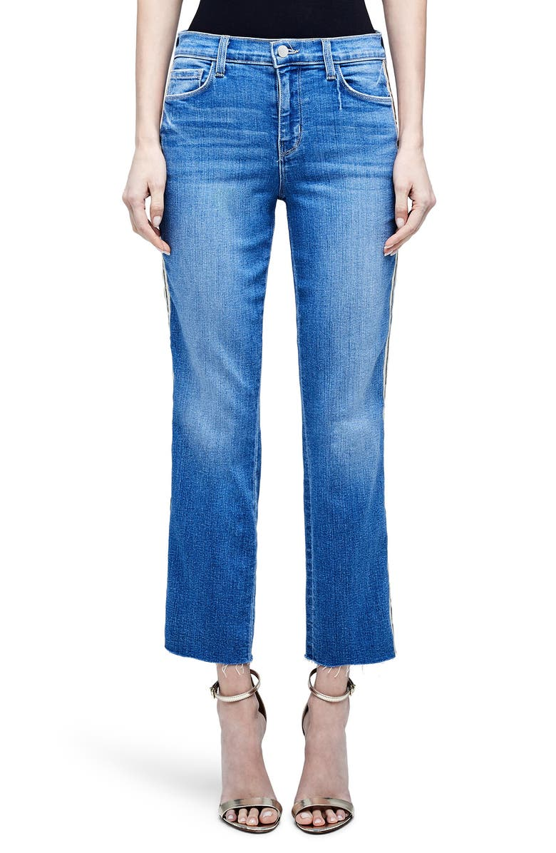 L'AGENCE Sada High Waist Tape Outseam Crop Slim Jeans, Main, color, DOVER