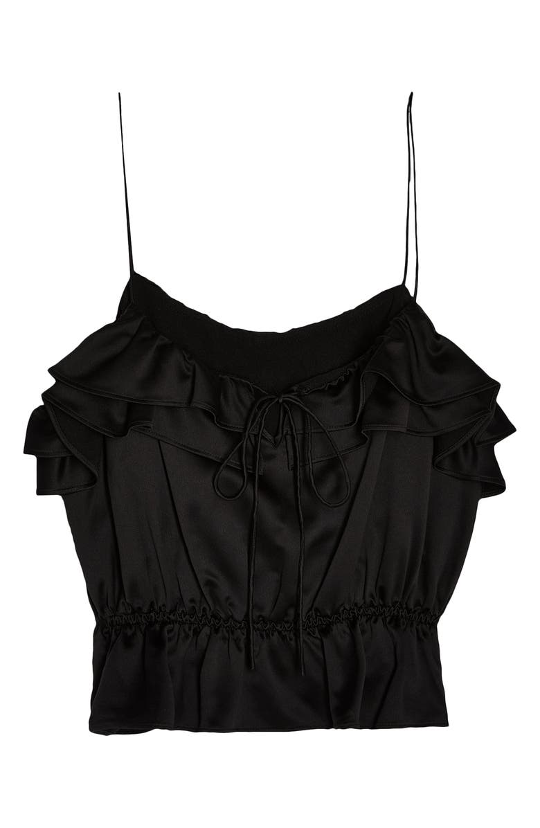 TOPSHOP Rochelle Ruffle Charmeuse Camisole, Main, color, 001
