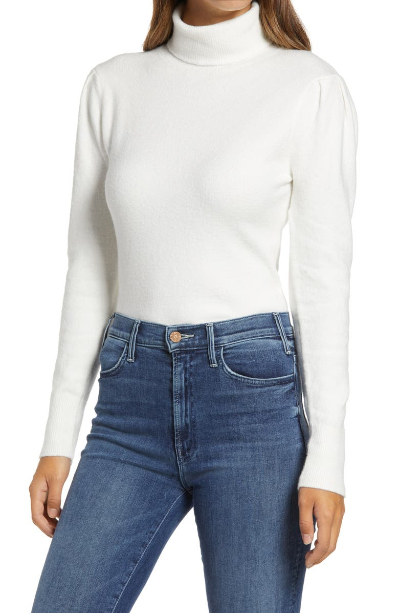 RACHEL PARCELL Rachell Parcell Puff Shoulder Turtleneck Sweater, Main, color, IVORY