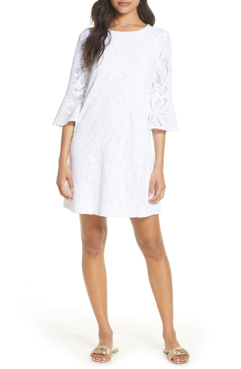 LILLY PULITZER<SUP>®</SUP> Ophelia Lace Shift Dress, Main, color, RES WHITE WLDFLWR SR LACE
