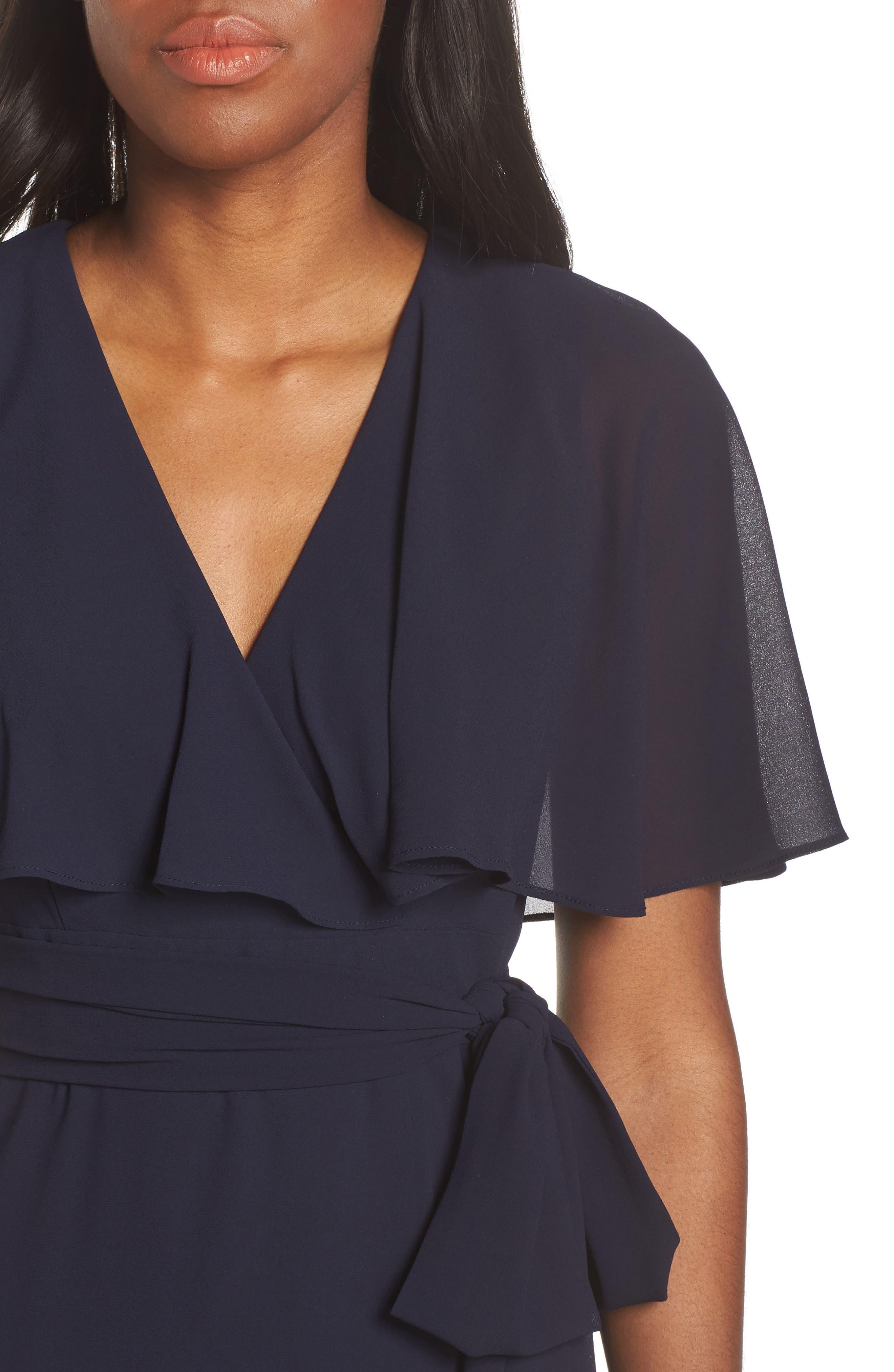 ,                             V-Neck Faux Wrap Chiffon Gown,                             Alternate thumbnail 5, color,                             NAVY