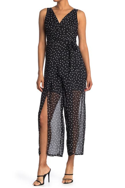 Image of London Times Polka Dot Chiffon Wrap Sleeveless Jumpsuit