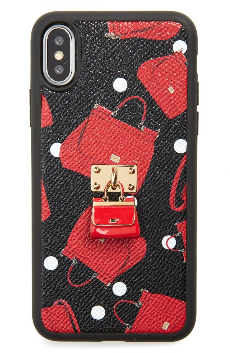 DOLCE&GABBANA Miss Siciliy iPhone X Case, Main, color, NERO BORSETTE