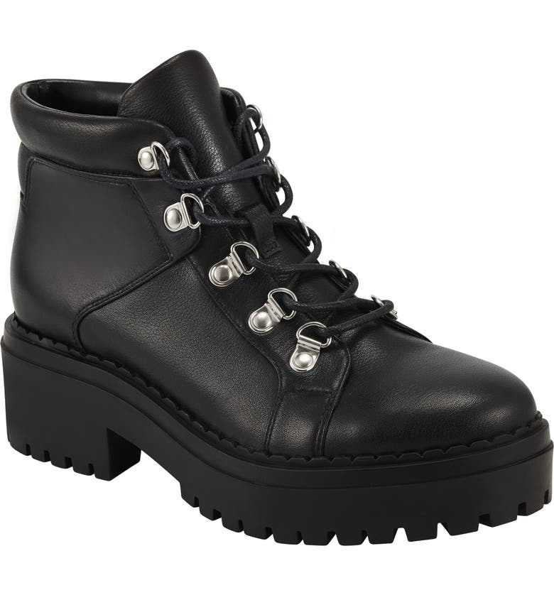 MARC FISHER LTD Nula Hiking Boot, Main, color, BLACK LEATHER