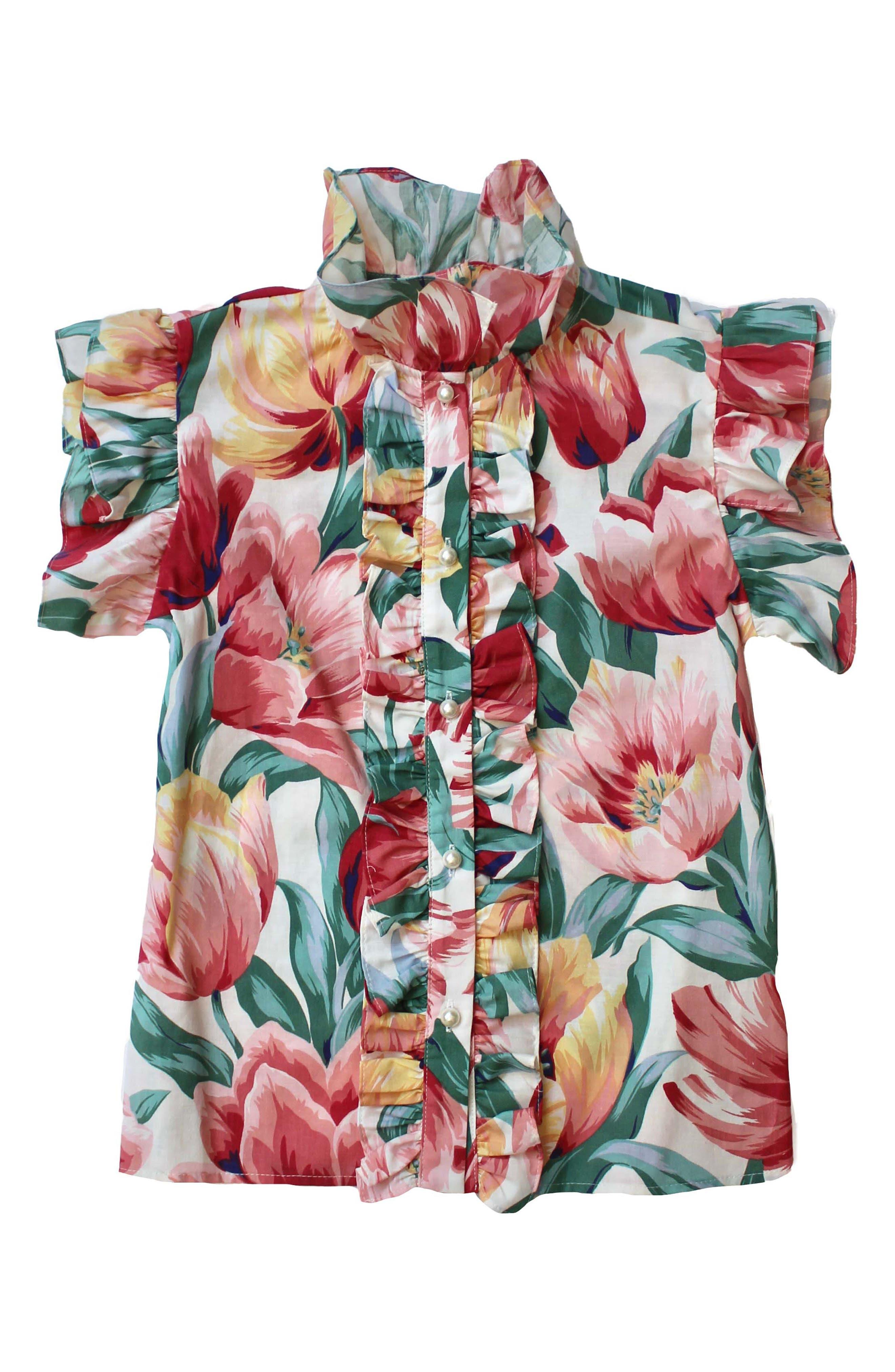 Claude Tulip Print Cotton Blouse