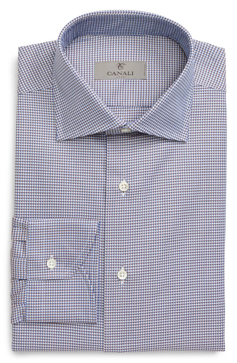 CANALI Regular Fit Check Dress Shirt, Main, color, BROWN