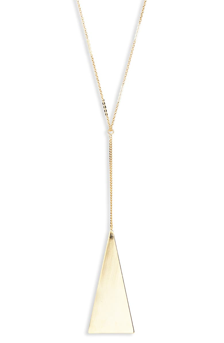 SEREFINA Sultry Triangle Y-Necklace, Main, color, GOLD