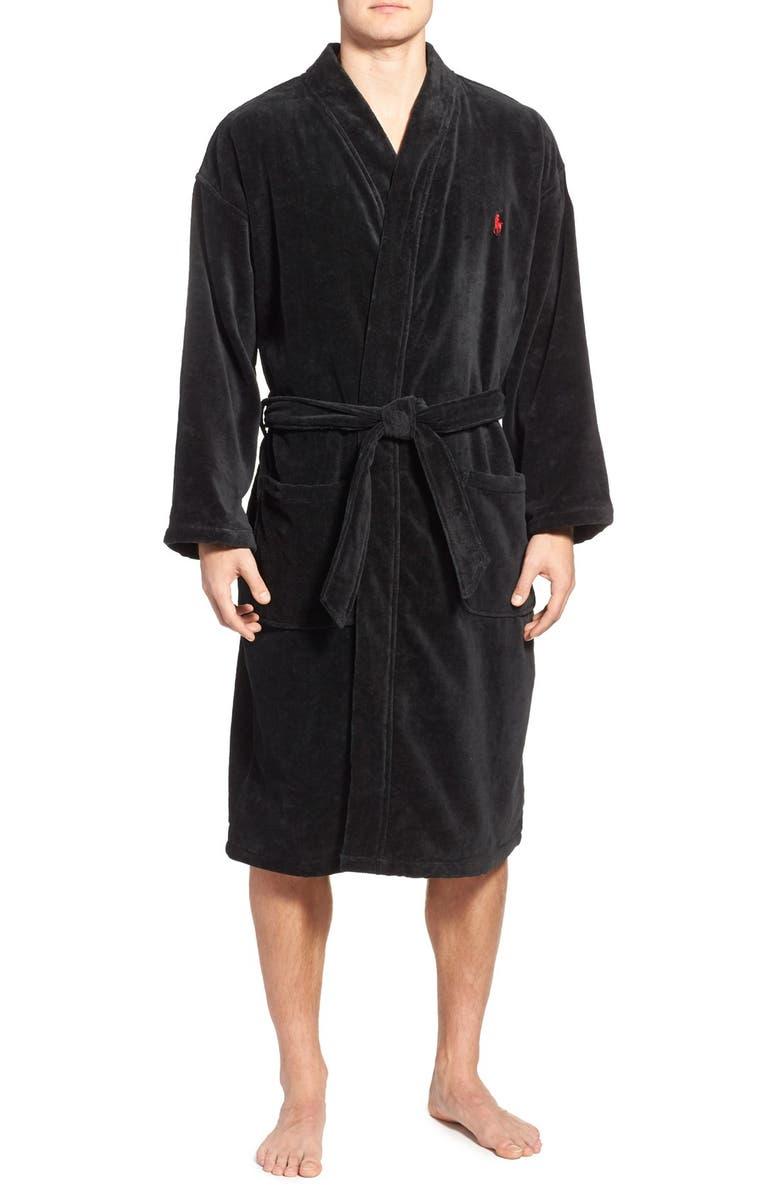 POLO RALPH LAUREN Cotton Fleece Robe, Main, color, 001
