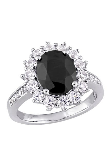 Image of Delmar Sterling Silver Created White & Black Sapphire Halo Ring