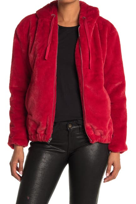 Image of KENDALL AND KYLIE Faux Fur Bomber Jacket