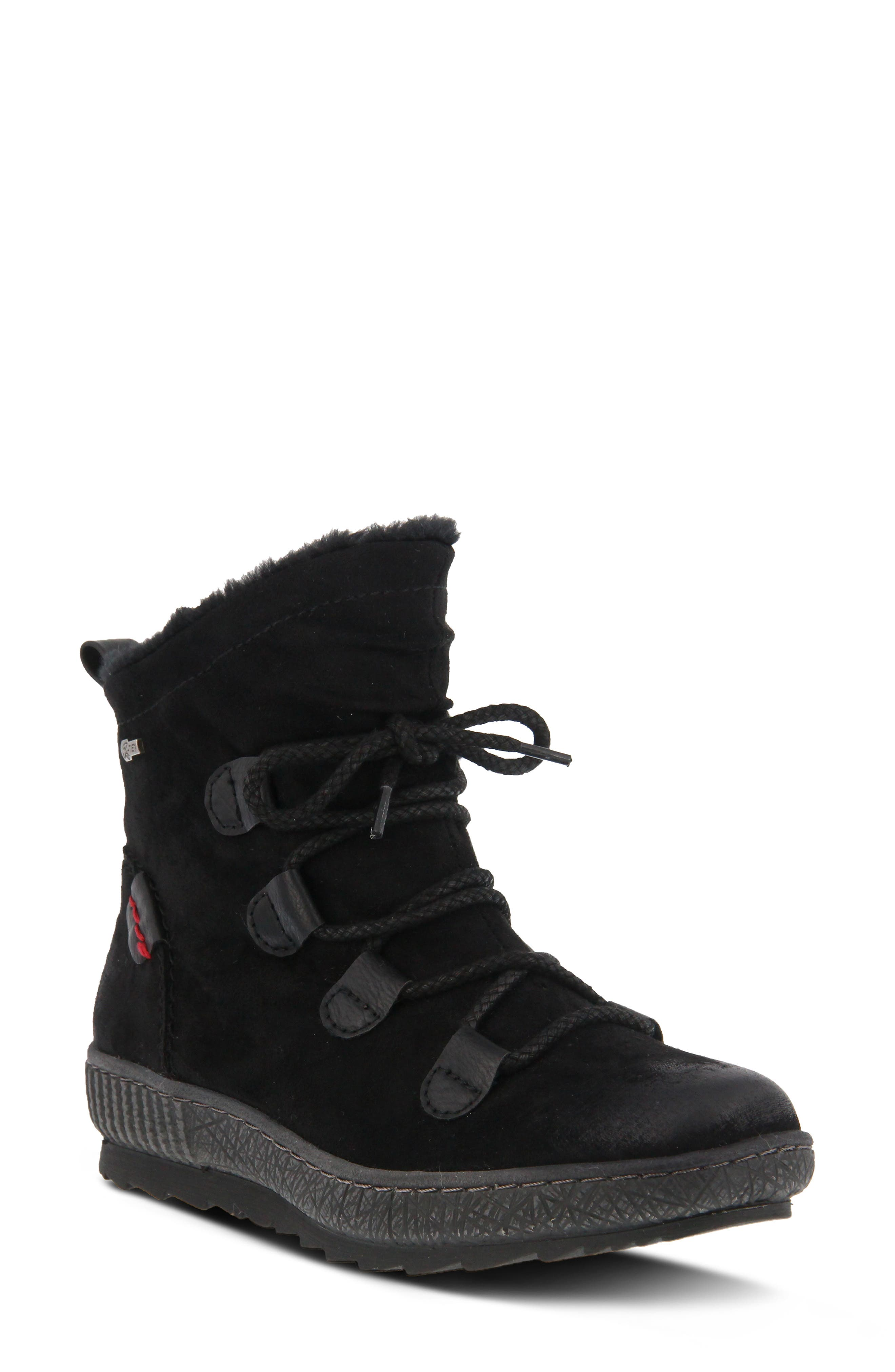 ,                             Hunnie Water Resistant Bootie,                             Main thumbnail 1, color,                             BLACK SUEDE