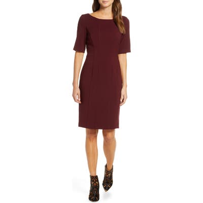 Eliza J Bateau Neck Crepe Sheath Dress, Burgundy