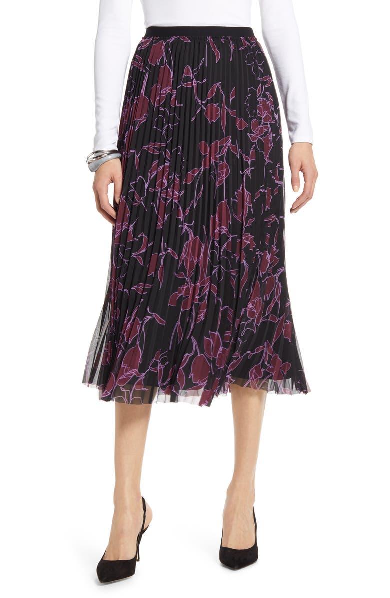 HALOGEN<SUP>®</SUP> Pleated Chiffon Skirt, Main, color, BLACK- PURPLE OUTLINE FLORAL