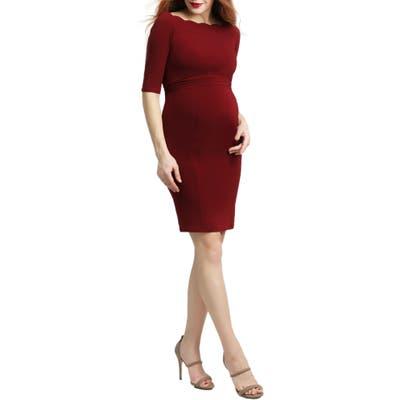 Kimi And Kai Kendall Scallop Trim Body-Con Maternity Dress, Burgundy