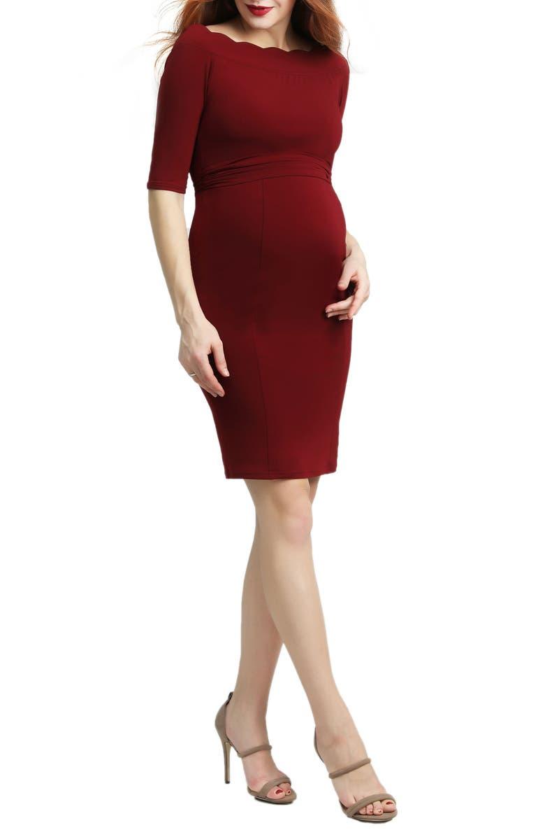 KIMI AND KAI Kendall Scallop Trim Body-Con Maternity Dress, Main, color, WINE