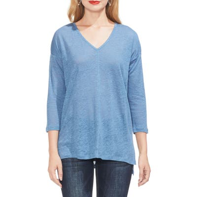 Two By Vince Camuto Seam Detail Linen Tee, Blue