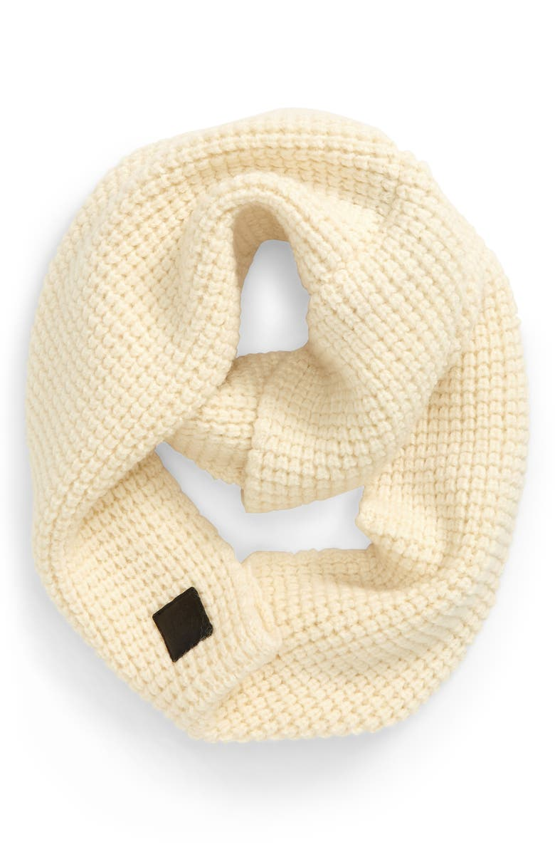 CANADA GOOSE Waffle Stitch Wool Infinity Scarf, Main, color, IVORY