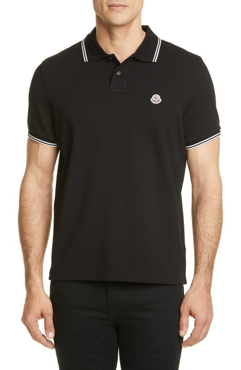 MONCLER Logo Slim Fit Polo, Main, color, 001