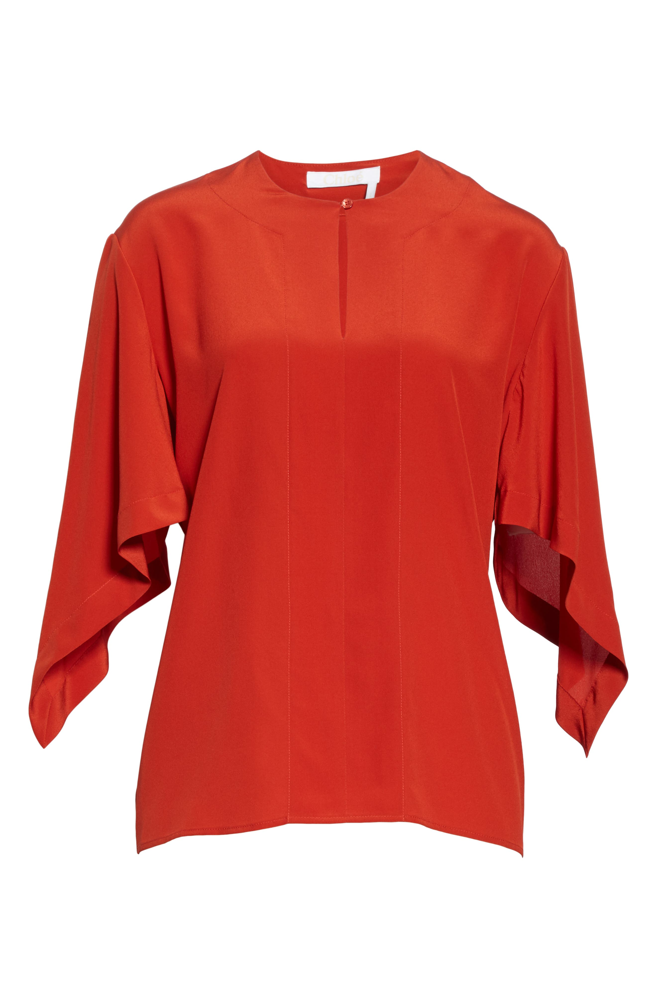 ,                             Split Neck Silk Blouse,                             Alternate thumbnail 6, color,                             843-ROOIBOS ORANGE