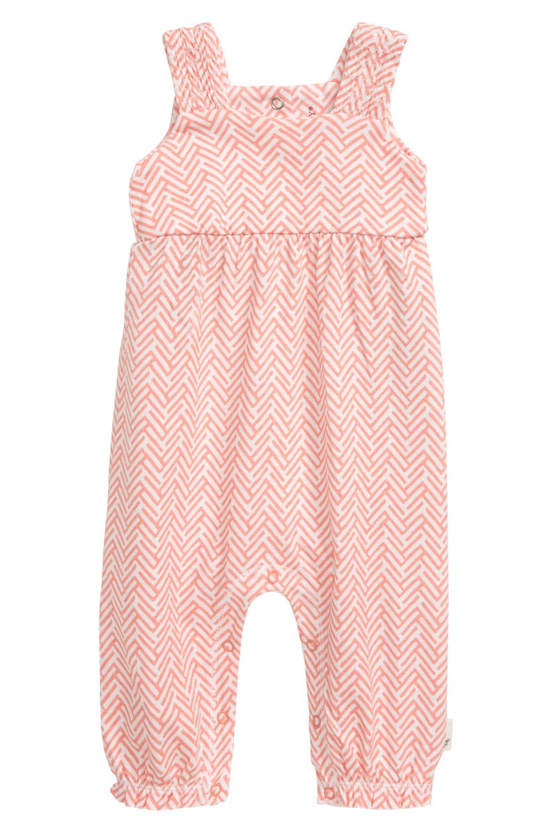 BURT'S BEES BABY World Chevron Romper, Main, color, PEACH BLOSSOM