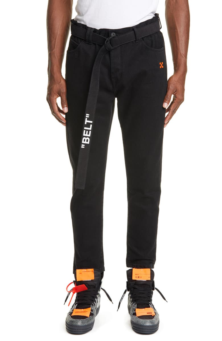 OFF-WHITE Slim Fit Belted Pants, Main, color, BLACK ORANGE