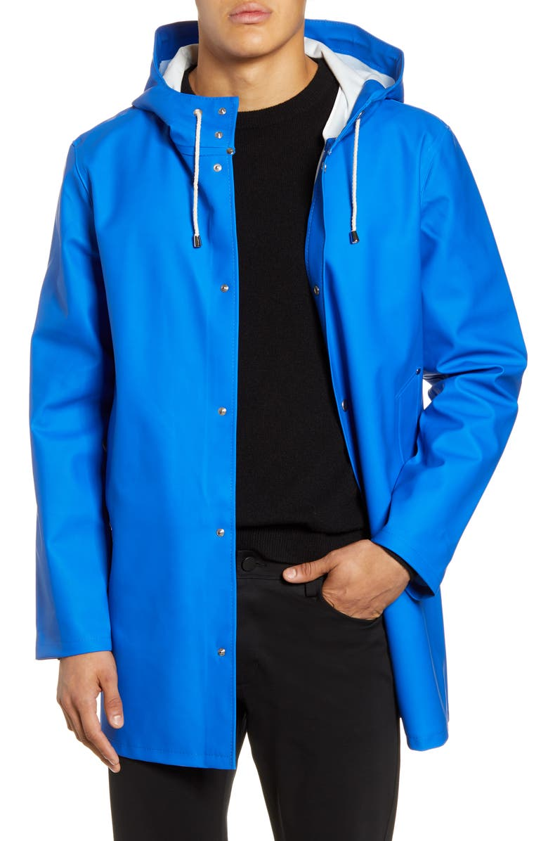 STUTTERHEIM Stockholm Waterproof Hooded Raincoat, Main, color, ELECTRIC BLUE