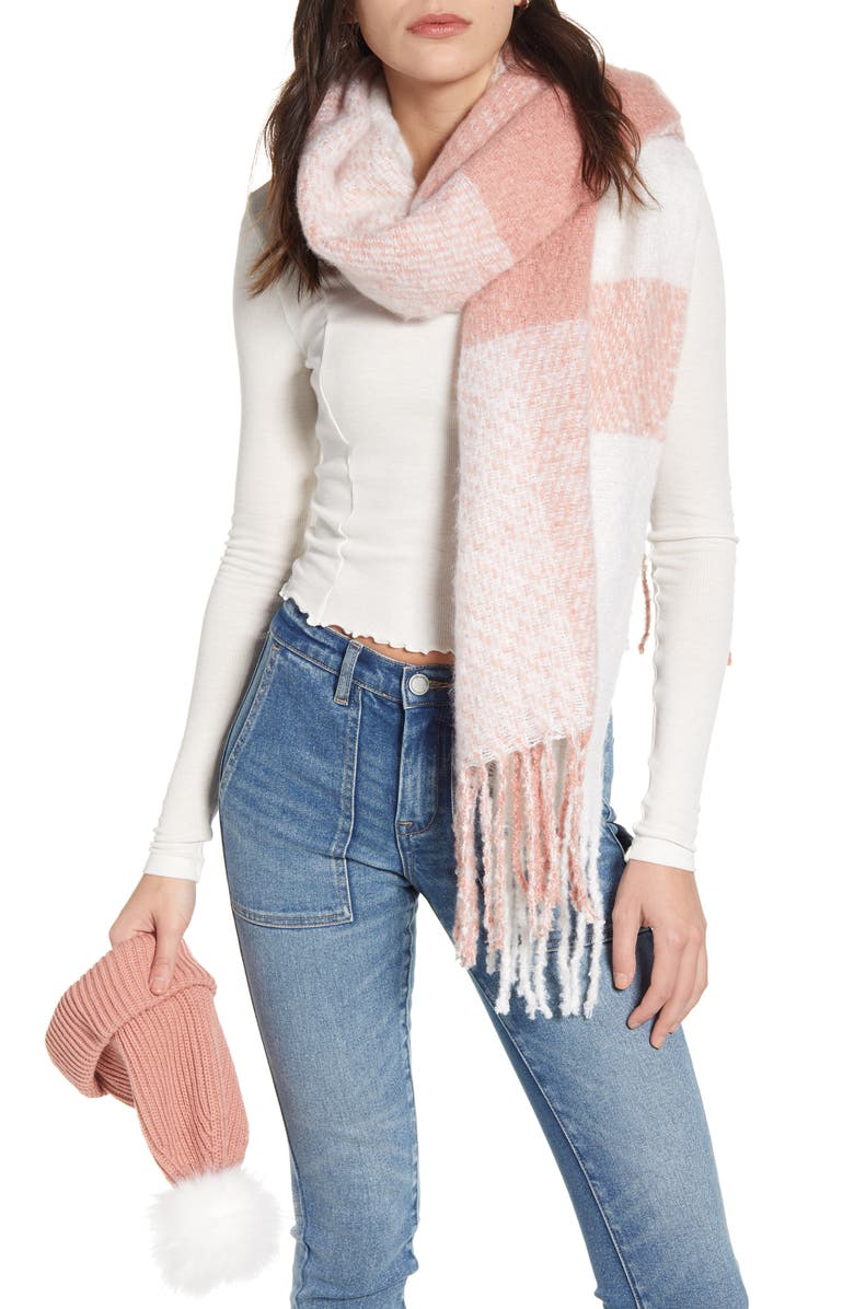 BP. Faux Fur Pom Beanie & Plaid Scarf Set, Main, color, PINK COMBO