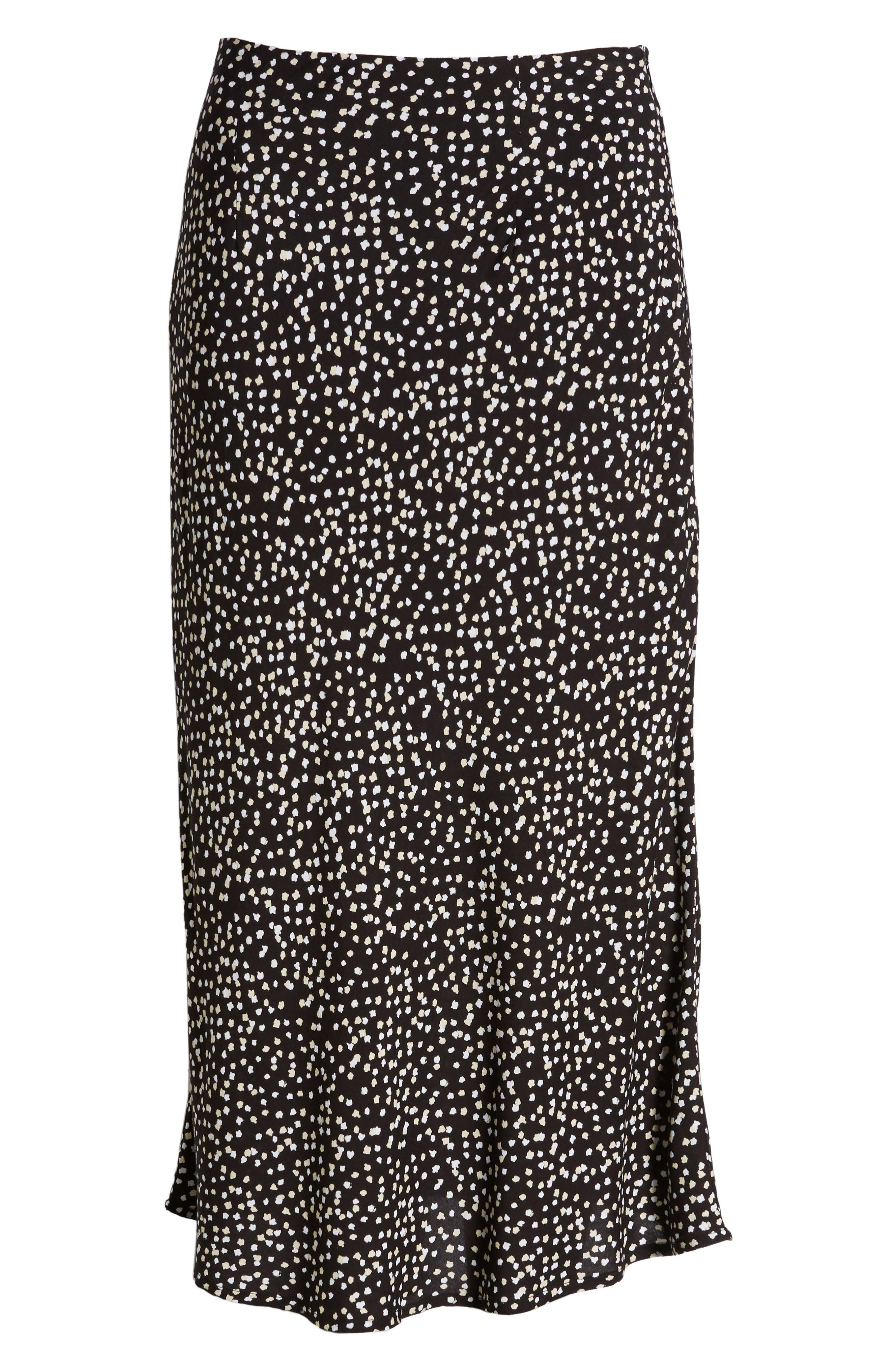 ,                             Button Side Midi Skirt,                             Alternate thumbnail 6, color,                             BLACK CINDY PRINT